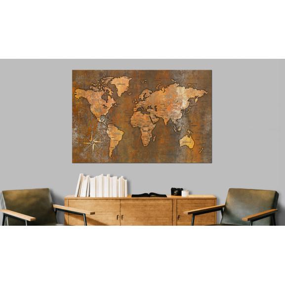 Tablou Din Plută Rusty World [Cork Map] 120 cm x 80 cm naturlich.ro