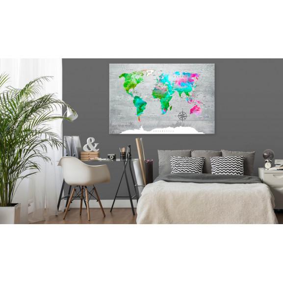 Tablou World Map: Green Paradise 120 cm x 80 cm naturlich.ro