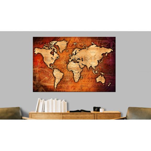 Tablou Din Plută Amber World [Cork Map] 120 cm x 80 cm naturlich.ro