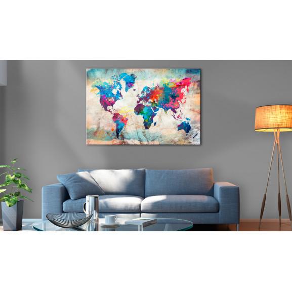 Tablou Din Plută World Map: Colourful Madness [Cork Map] 120 cm x 80 cm naturlich.ro