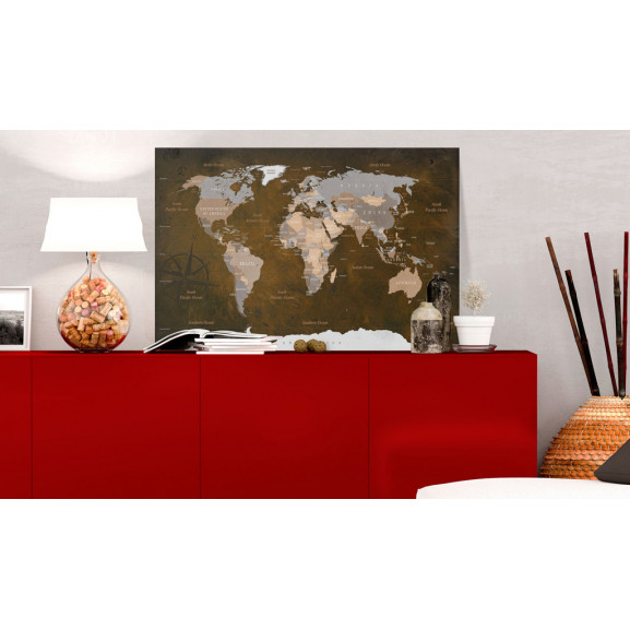 Tablou Din Plută Cinnamon Travels [Cork Map] 120 cm x 80 cm naturlich.ro