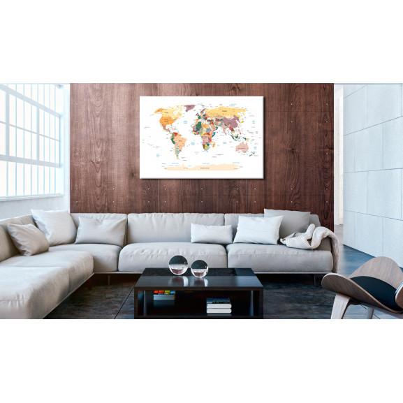 Tablou Din Plută World Map [Cork Map] 120 cm x 80 cm naturlich.ro