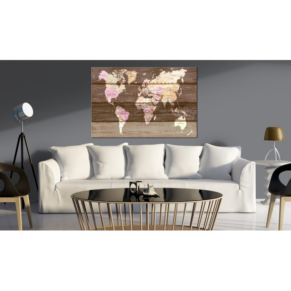 Tablou Din Plută Wooden World [Cork Map] 120 cm x 80 cm naturlich.ro